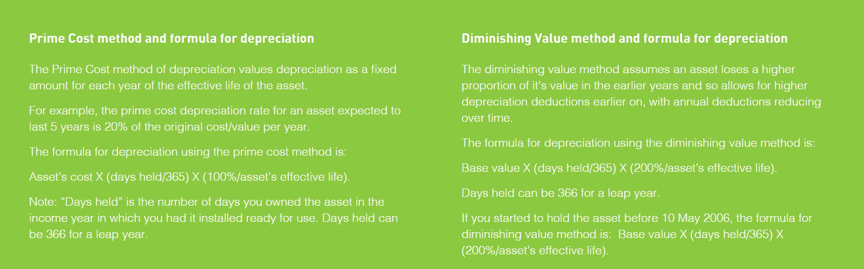 Prime Cost and Diminshing Value